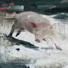 Tor-Arne Moen, Playful Pig, 2011, egg, oil on canvas, 85x85cm - Found on torarnemoen.com