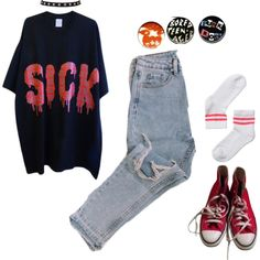 A fashion look from September 2016 featuring Monki socks and Converse sneakers. Browse and shop related looks.