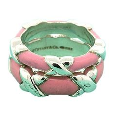 Pre-owned Tiffany & Co. Sterling Silver 925 Stackable Signature X Pink... ($265) ❤ liked on Polyvore featuring jewelry, rings, preowned jewelry, pre owned rings, pink enamel ring, sterling silver rings and sterling silver stackable rings