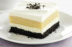 Peanut Butter-Striped Delight recipe for Peanut Butter-Striped Delight for Oreo Cookies. A classically delicious flavor combination made delectably creamy and lusciously smooth. Kraft Foods, Kraft Recipes, Gourmet Recipes, Peanut Butter Lasagna, Peanut Butter Squares, Peanut Butter Recipes, Layered Desserts, Köstliche Desserts, Dessert Recipes