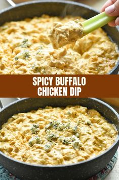 Spicy Buffalo Chicken Dip with all the flavors of the classic buffalo wings in scoopable dip form! Loaded with chicken chunks, cream cheese, blue cheese, and hot pepper sauce, it's absolutely addicting! Vegetarian Appetizers, Yummy Appetizers, Appetizers For Party, Appetizer Recipes, Dip Recipes, Easy Dinner Recipes, Sauce Recipes, Chicken Recipes, Party Recipes