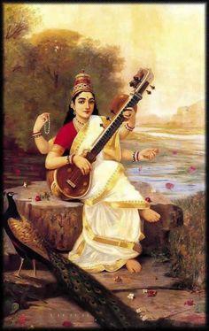 An oil painting of Sarasvati, Goddess of knowledge by Raja Ravi Varma.