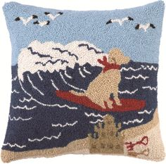 Surfing Lab Hook Pillow