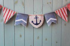 Nautische jute bunting banner in blauw en rood - rustieke decoratieve bunting - Boy