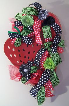 Spring Strawberry Wreath by SassyGirlsNC on Etsy