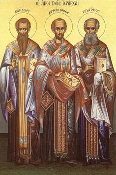 The Three Hierarchs On the thirtieth of this month (Jan) we commemorate our… John Chrysostom, Day Book, Orthodox Icons, All Saints, Catholic, Third, Christ, Blessed, Painting