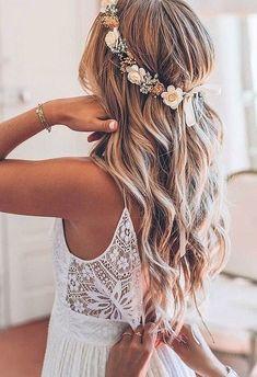 Wavy bridesmaids hair - flower crown