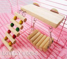 Flexible Wooden Toys RAT Mouse Hamster Parrot Hanging Ladder Bridge Shelf Cage | eBay