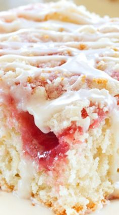 Strawberry Rhubarb Coffee Cake ~  an irresistible snack cake... Sweet and tart in every bite!