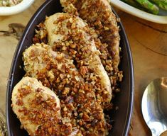 This pecan crusted chicken is a family favorite and it's so simple! Plus it is a gluten-free recipe, whole 30 approved recipe, and a dairy-free recipe so it's perfect for entertaining almost any guest!