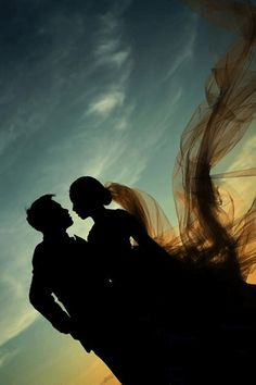 Silhouette photo, so pretty! Beach Wedding Photos, Beach Wedding Photography, Wedding Poses, Wedding Pictures, Wedding Ideas, Wedding Veils, Wedding Shot, Bridal Veils, Wedding Album
