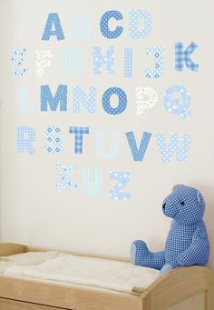 Blue Alphabet Wall Decals great for a little boy nursery. Would be perfect decor for right above a changing table.