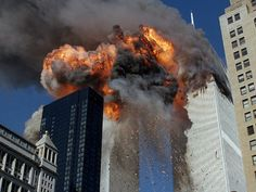 September 11th attacks. Moment of impact when the south tower is hit