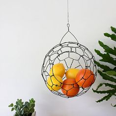 Handmade Hanging Wire Baskets by CharestStudios on @Etsy #kitchen #fruit #veggies #garden #summer #storage #gifts #home #handmade #wire #minimal #apartment #smallspace