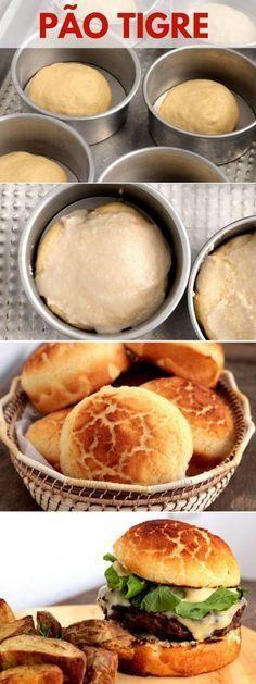 Pão tigre - Aprenda a fazer esse pão lindo que cria uma estampa de tigre na superfície, essa casquinha craquelada é crocante e deliciosa. Você pode preparar usando a sua receita preferida de pão e finalizar com a pasta de farinha de arroz antes de levar para assar. Esse pão é perfeito para sanduíche e hambúrguer. Confira as dicas e faça em casa. No Salt Recipes, Wine Recipes, Cooking Recipes, Cooking Bread, Savoury Baking, Portuguese Recipes, Polenta, How To Cook Pasta, Bruschetta