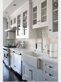 Kitchen counters- Arctic Carrara Quartz - also similar layout for sink/DW/range - disregard colors/cabinets