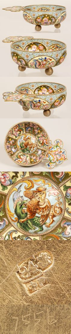"""A very large Russian silver gilt and shaded cloisonné enamel charka, Feodor Ruckert, Moscow, late 19th century. The lobed bowl, on three ball feet, decorated inside and outside with panels of scrolling stylized multi-color flowerheads against alternating cream and olive grounds, the central interior roundel features a mythical bird and dragon motif, trefoil-shape enameled handle. Dimensions: 2"""" H x 6"""" W (5.1 x 15.2 cm)."""