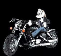 Bugs Bunny Motorcycle by Harley Davidson Images, Harley Davidson Motor, Classic Cartoon Characters, Classic Cartoons, Motorcycle Art, Bike Art, Bugs Bunny, Bunnies, Bugs And Lola