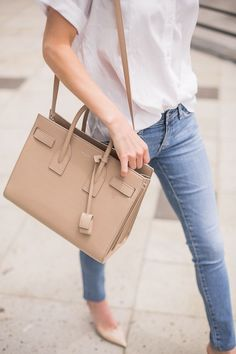 FRAME skinny jeans and Saint Laurent bag—spring basics
