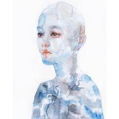 Watercolor by Agnes Cecile agnes_cecile Agnes Cecile, Portrait Art, Portraits, Pretty Art, Cool Artwork, Cool Drawings, Art Inspo, New Art, Watercolor Art