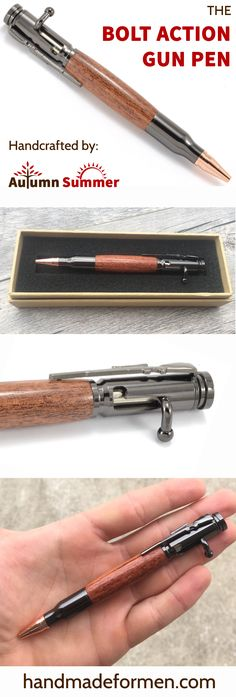 Shop our BEST SELLING bolt action pens! Great Gun Gifts for Him his anniversary or birthday! Custom engraving available! $40 http://www.handmadeformen.com/collections/bolt-action-and-gun-pens