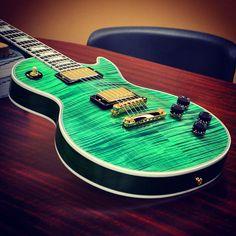 #Gibson Les Paul #Custom Figured in #Neon #Green #lespaul #guitar #rock
