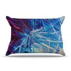 """Ebi Emporium """"Night Flowers"""" Blue White Pillow Case"""