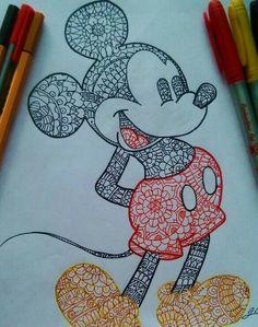 Ideas For Disney Art Painting Ideas Mickey Mouse Mandala Art, Mandala Drawing, Doodle Drawings, Doodle Art, Cute Drawings, Sharpie Drawings, Sharpie Art, Dibujos Zentangle Art, Zentangles