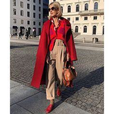 Instagram Silk Pants Outfit, Red Coat Outfit, Beige Outfit, Monochrome Outfit, Blouse Outfit, Dress Pants, Colour Combinations Fashion, Fashion Colours, Beige Pants