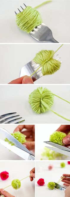 Great idea to make your own furry ball with any color yarn.