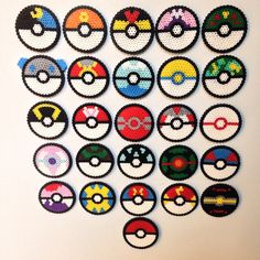 Gotta catch em all! Here we have a handmade set of 26 pokeballs including the classic original ball. These little fellas are 3 inches in diameter and can be sold as just the perlers themselves or created with a magnet/Velcro back. Select option at checkout. Thank you for visiting our shop and be sure to like us on Facebook!! https://www.facebook.com/soultwinsprites