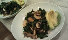 Quick Mushroom & Kale over Brown Rice