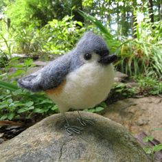 Mr. Tufted Titmouse or Black-Crested Titmouse, needle felted bird art sculpture