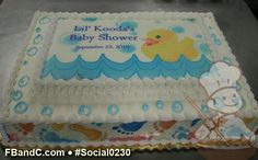 Social0230 | Baby Shower Cake | Rubber ducky custom photo with baby feet on cake walls.