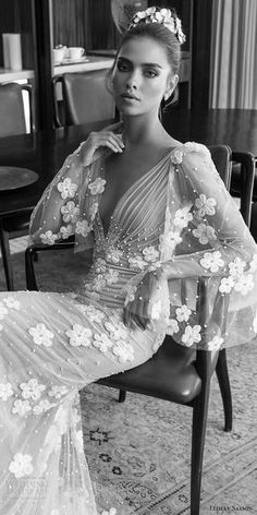 elihav sasson spring 2018 bridal deep v neck illusion bouffant long sleeves ruched bodice sheath wedding dress (vj 017) zv princess romantic -- Elihav Sasson 2018 Wedding Dresses