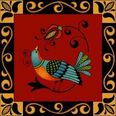 folk-art-bird-maroon Madhubani Art, Scandinavian Folk Art, Indian Folk Art, Truck Art, Madhubani Painting, Indian Art Paintings, Decoupage, Gravure, Tribal Art