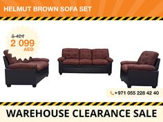 This Helmut sofa set is fashionable and modern. Upholstered in brown microfiber combined with black faux leather this furniture pieces look very stylish. The set features square plastic legs with black finish and stitching on back cushions. The whole set consists of a three-seater sofa, two-seater sofa, and an armchair. Local pickup only! For more details contact: +971 55 228 4240