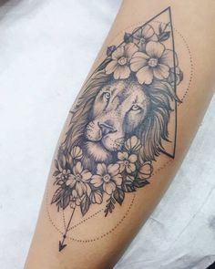 With cloves or sunflowers - Tatoo - tattoos Leo Tattoos, Future Tattoos, Body Art Tattoos, Tatoos, Trendy Tattoos, Small Tattoos, Tattoos For Women, Women Thigh Tattoos, Small Lion Tattoo For Women