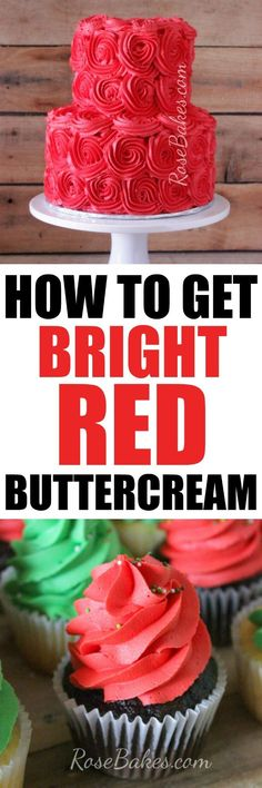 cupcake frosting tips How to Get Bright Red Buttercream. In this post I share my tip to get bright red buttercream plus a few other tips to help you if you're having trouble! Frosting Tips, Cupcake Frosting, Frosting Recipes, Buttercream Frosting, Cupcake Cakes, Cake Recipes, Frosting Techniques, Fondant Cakes, Pastries