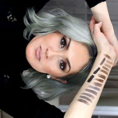 BEAUTY101BYLISA: HOW TO FIND YOUR PERFECT EYEBROW SHADE | 15 Swatches Red Hair Brown Eyes, Blue Grey Hair, Grey Hair Don't Care, Silver Grey Hair, Hair Color For Black Hair, Brown Hair Colors, Blue Eyes, Grey Hair Eyebrows, Dye Eyebrows