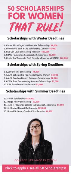 Grants & Scholarships for Women Going to college and need money to pay for school? Check out my list of 50 scholarships for women! via to college and need money to pay for school? Check out my list of 50 scholarships for women! Grants For College, Financial Aid For College, College Fund, Online College, Scholarships For College, Education College, College Tips, Scholarships For Graduate Students, Education Degree