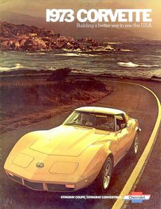 1973 CHEVROLET CHEVY CORVETTE Yellow Sports Car REPLICA METAL SIGN