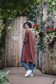 I put together two cardigans recently and made them out of velvet as a nod  to the holiday shimmer. One was much more basic, a fitted long cardigan,  and the other had a touch of silk, pockets, and a kimono fit...