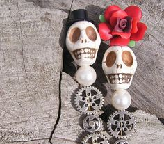 Day of the Dead Frida Wedding Cake Toppers  Bride by shabbyskull