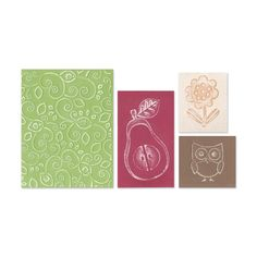 Sizzix Textured Figgy Pudding Flower/ Owl/ Pear Impressions Embossing Folders