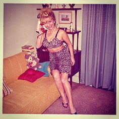 Vintage Photo 1960s Sexy Campy Older Woman In Kitsch Outfit: Leopard Bra And Half Slip by Christian Montone, via Flickr