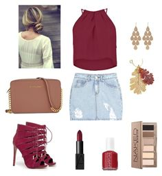 """""""The Fall Color: Maroon"""" by armbelggirl ❤ liked on Polyvore featuring мода, SJYP, Boohoo, Bebe, Michael Kors, Irene Neuwirth, NARS Cosmetics, Essie и Urban Decay"""