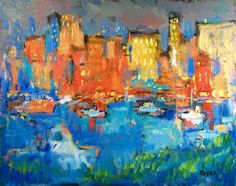 Original Abstract Painting  Expressionist Art, reds, blues, acrylic painting on canvas, city harbor by Russ Potak.
