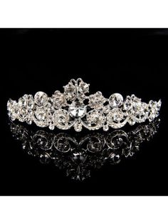 Exquisite Silver Metal Tiara with Crystals for Wedding Party MS30LQ901