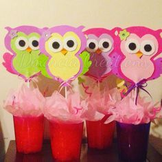 Owl centerpieces for baby shower by dmarcia creations: Owl Themed Parties, Owl Parties, Owl Birthday Parties, 12th Birthday, Baby Birthday, Owl Party Decorations, Owl Centerpieces, Baby Shower Centerpieces, Baby Shower Games
